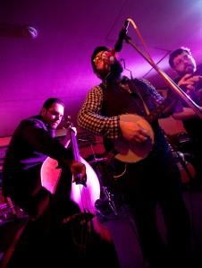 © Daniel Cojanu-Josh Dayton on bass, Ben Paterson on banjo/kazoo and Topher Maffei on the washboard. Grumpy's Pub, Feb. 2013